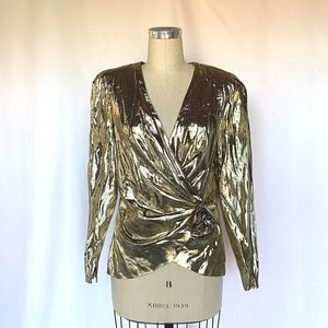 Vintage 80s Liquid Gold Blouse Wrap Front